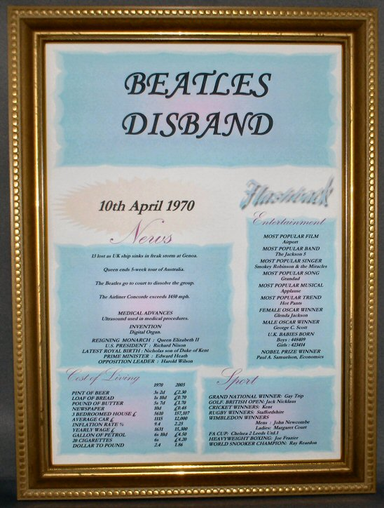 Beatles Disband Certificate in Gold Frame