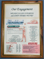 Engagement Certificate in Medium Wood Frame with Acrylic Glass