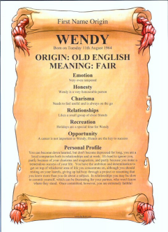 First Name Origin & Meaning Certificate