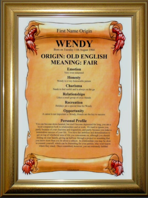 Premium Framed Gift - Dome Gold First Name Certificate
